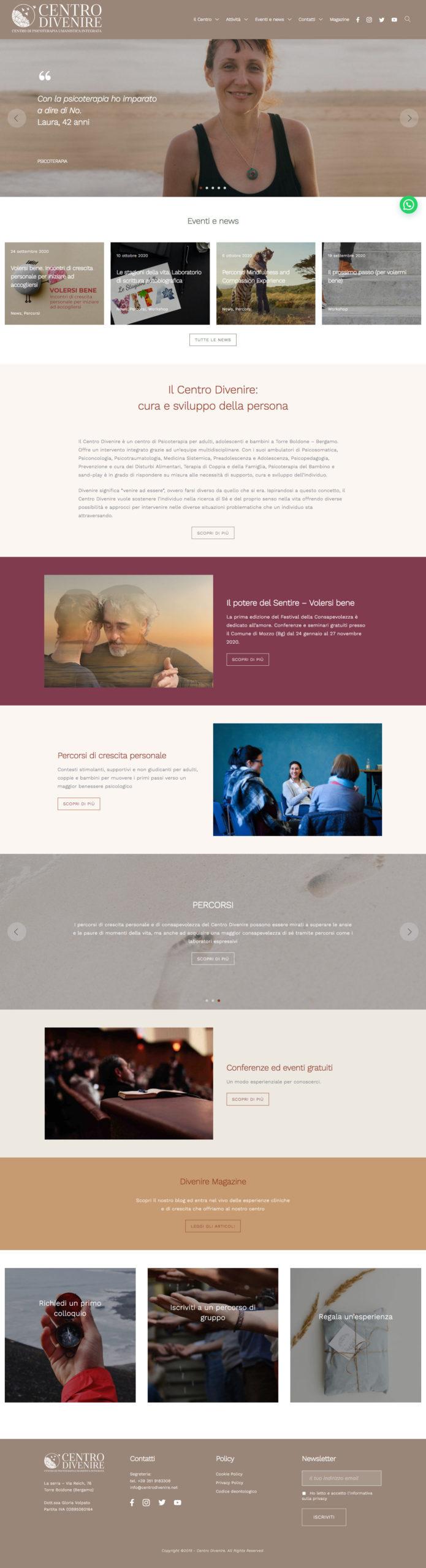 Interaction design - sito centrodivenire.net - homepage
