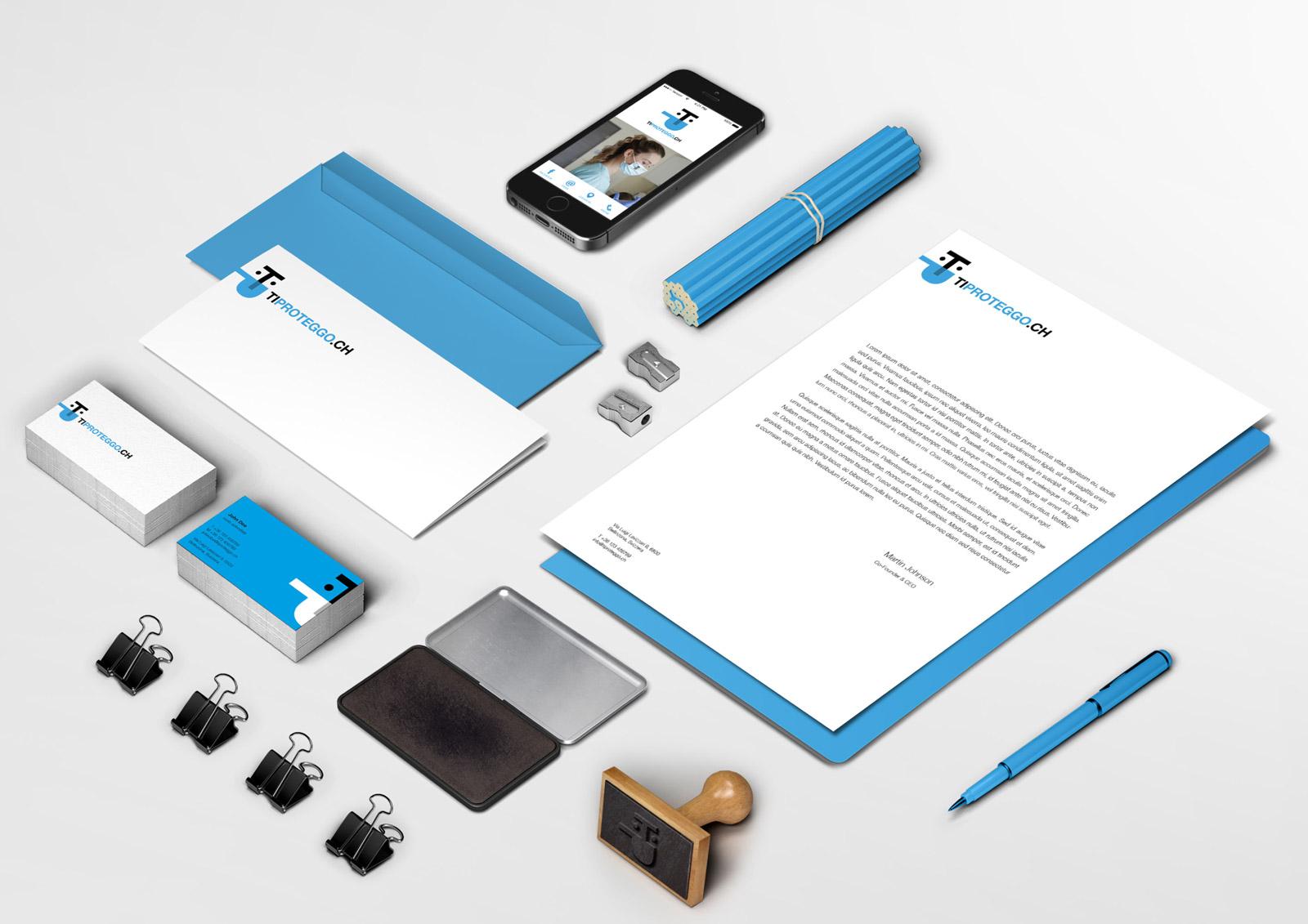 Brand identity TiProteggo - stationery