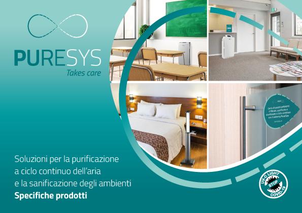 Brand identity PureSys: catalogo prodotti per la sanificazione degli ambienti e la purificazione dell'aria